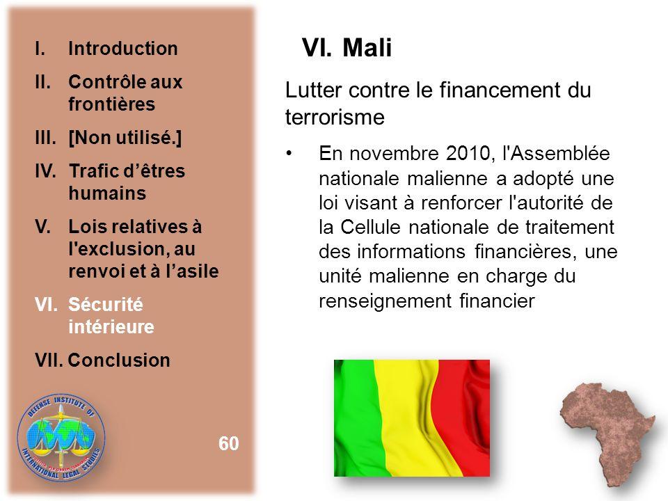 VI. Mali Lutter contre le financement du terrorisme