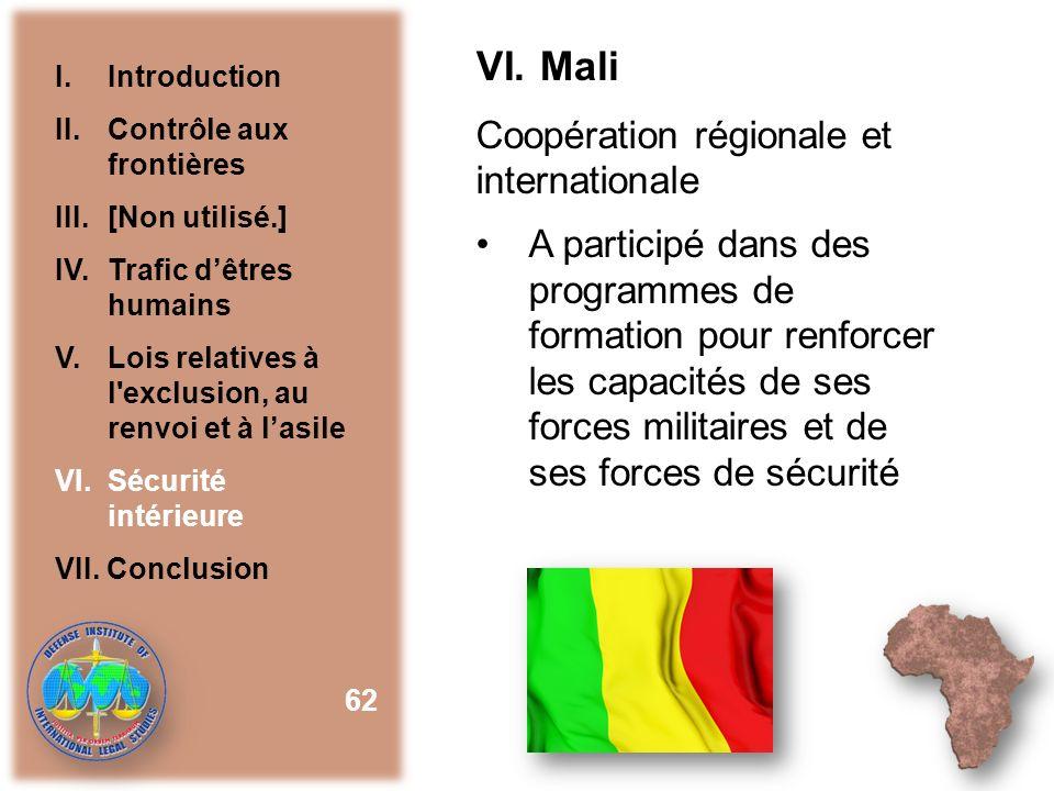VI. Mali Coopération régionale et internationale