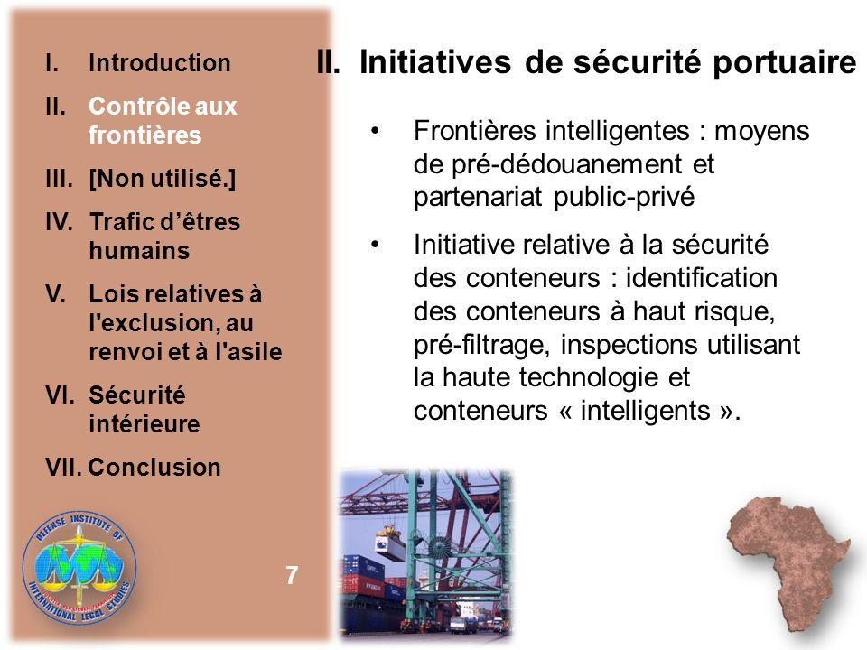 II. Initiatives de sécurité portuaire