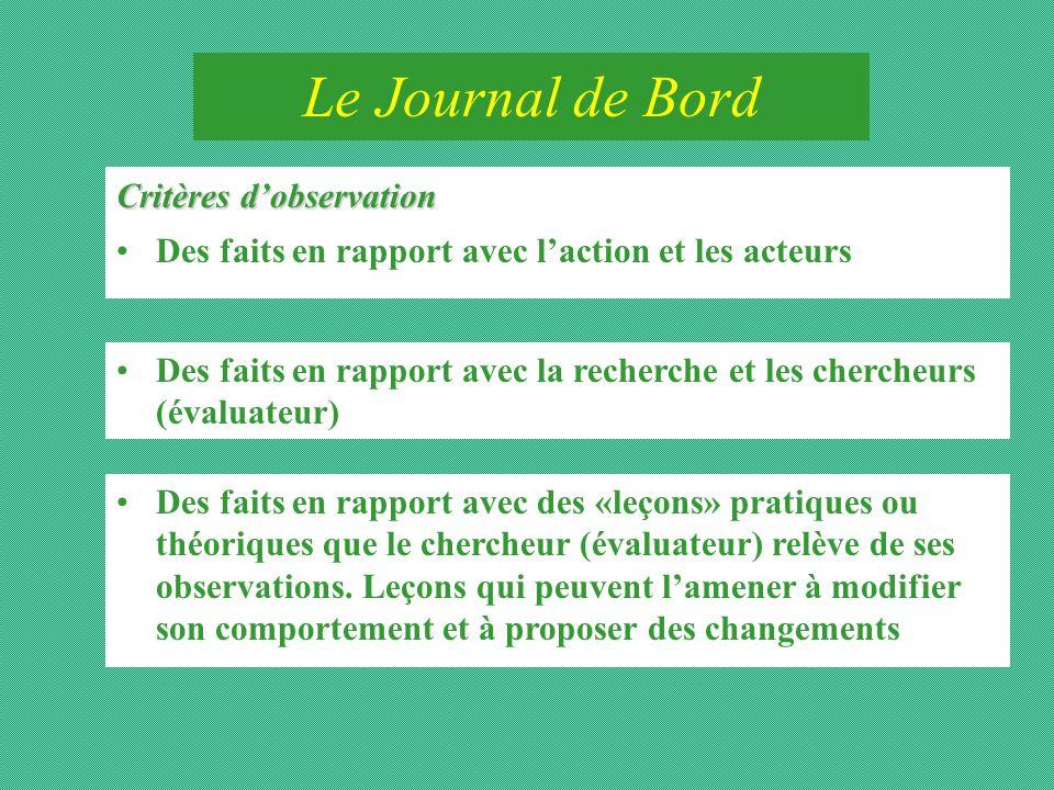 Le Journal de Bord Critères d'observation