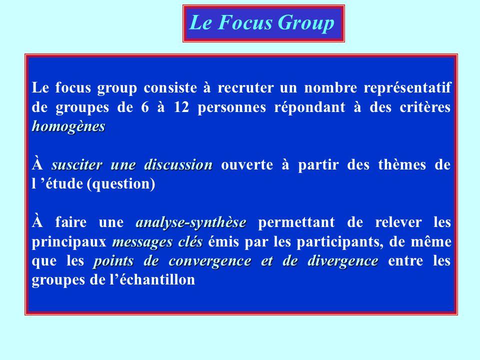 Le Focus Group Le focus group consiste à recruter un nombre représentatif de groupes de 6 à 12 personnes répondant à des critères homogènes.