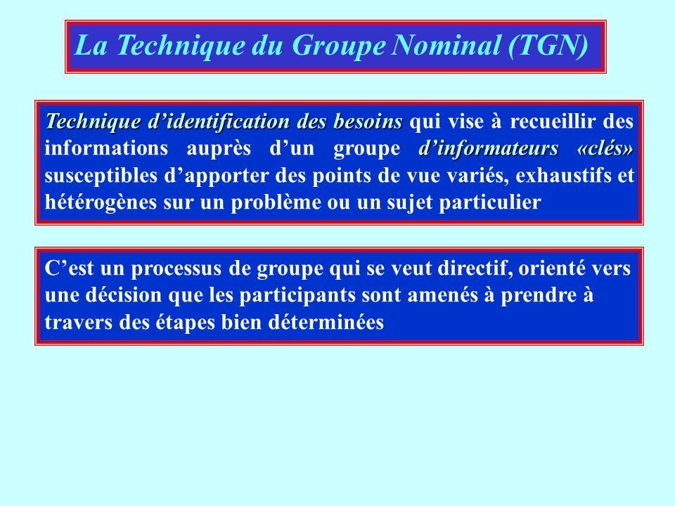 La Technique du Groupe Nominal (TGN)