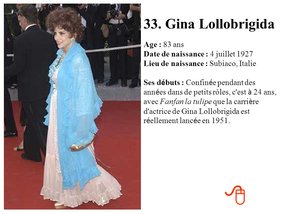 33. Gina Lollobrigida