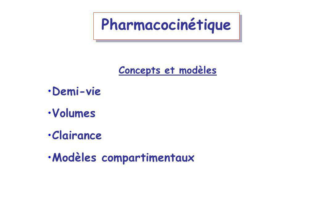 Pharmacocinétique Demi-vie Volumes Clairance Modèles compartimentaux