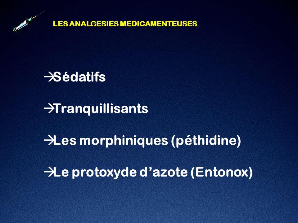 Les morphiniques (péthidine) Le protoxyde d'azote (Entonox)