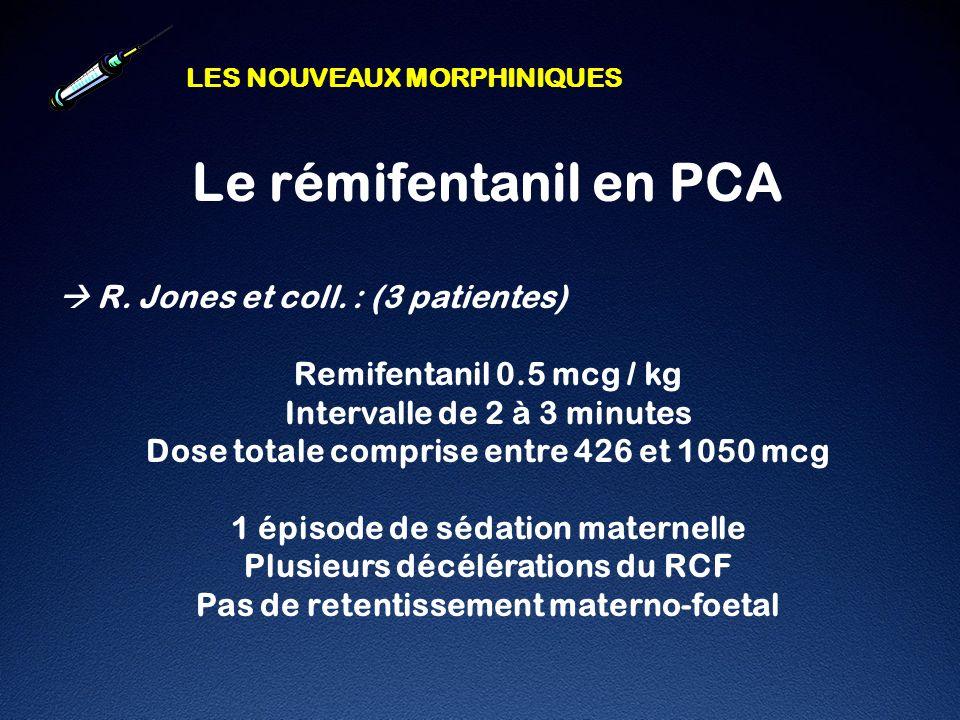 Le rémifentanil en PCA  R. Jones et coll. : (3 patientes)