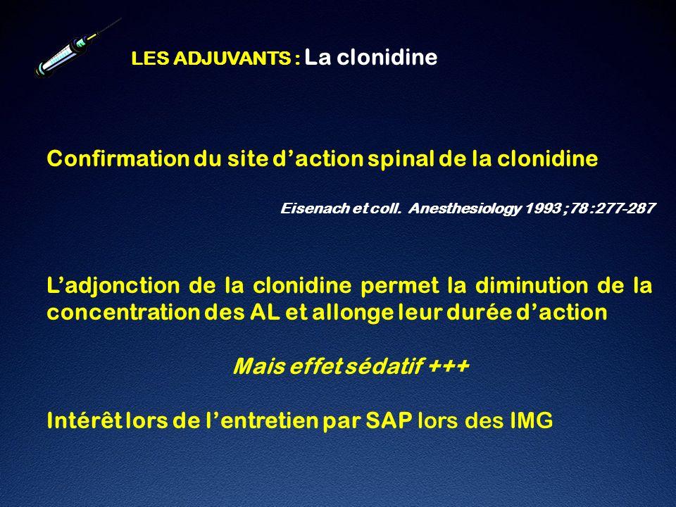 Confirmation du site d'action spinal de la clonidine
