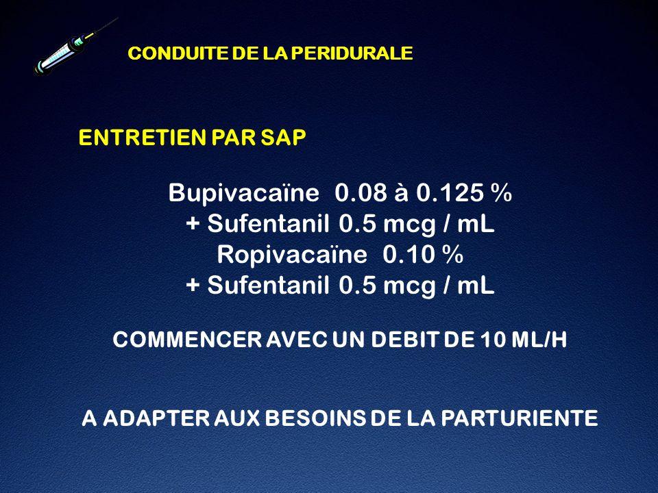 Bupivacaïne 0.08 à 0.125 % + Sufentanil 0.5 mcg / mL