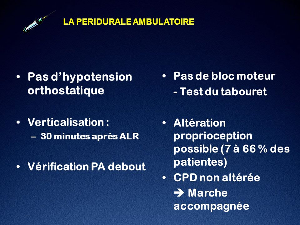 Pas d'hypotension orthostatique