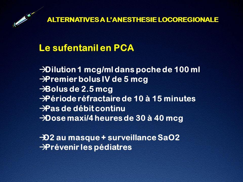 Le sufentanil en PCA Dilution 1 mcg/ml dans poche de 100 ml