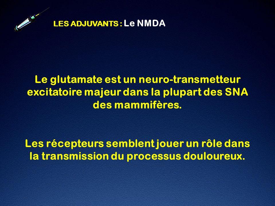 LES ADJUVANTS : Le NMDA Le glutamate est un neuro-transmetteur excitatoire majeur dans la plupart des SNA des mammifères.