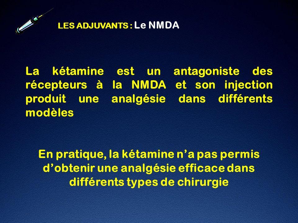 LES ADJUVANTS : Le NMDA La kétamine est un antagoniste des récepteurs à la NMDA et son injection produit une analgésie dans différents modèles.