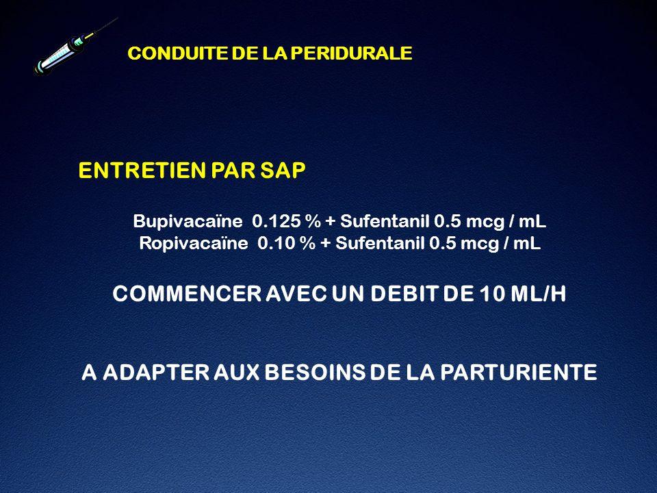COMMENCER AVEC UN DEBIT DE 10 ML/H