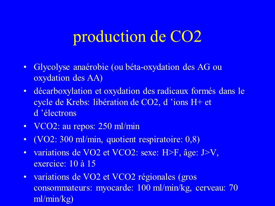 production de CO2Glycolyse anaérobie (ou béta-oxydation des AG ou oxydation des AA)