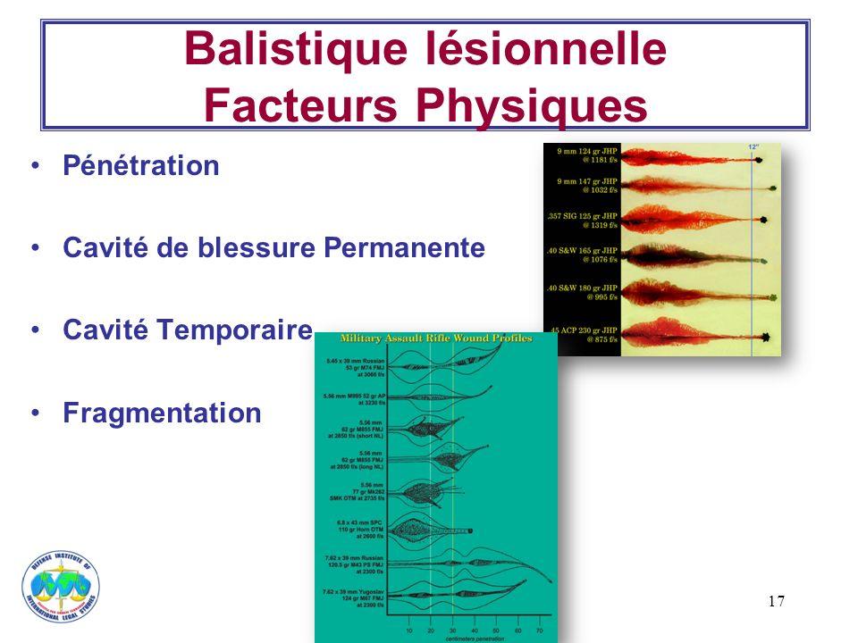 Balistique lésionnelle Facteurs Physiques