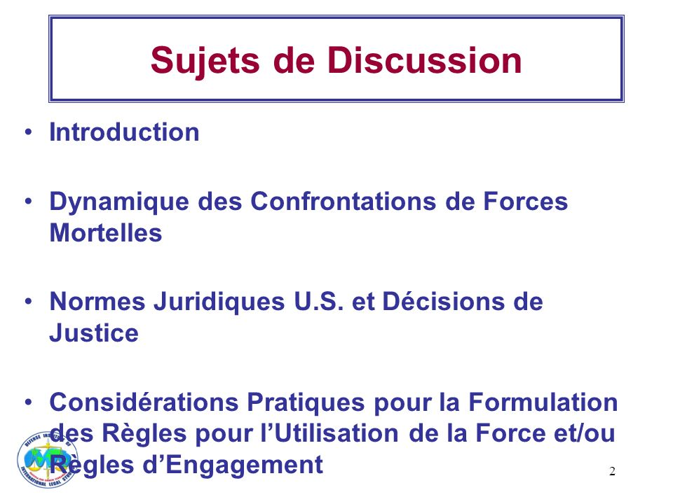 Sujets de Discussion Introduction