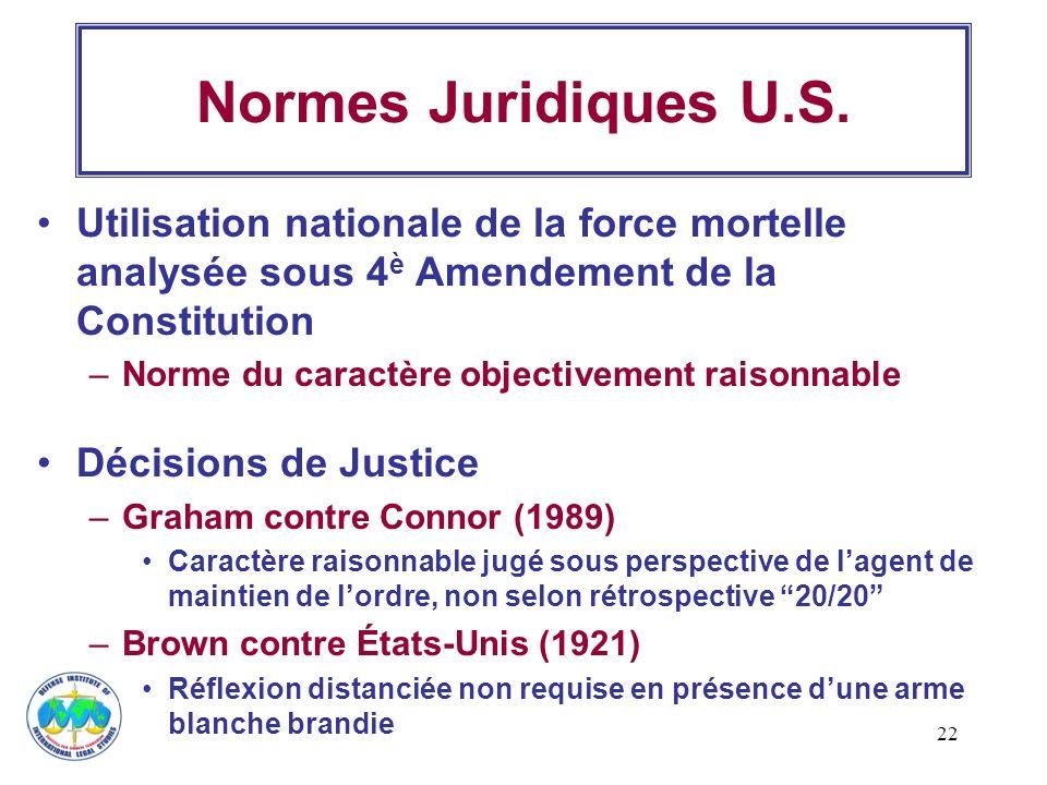 Normes Juridiques U.S. Utilisation nationale de la force mortelle analysée sous 4è Amendement de la Constitution.