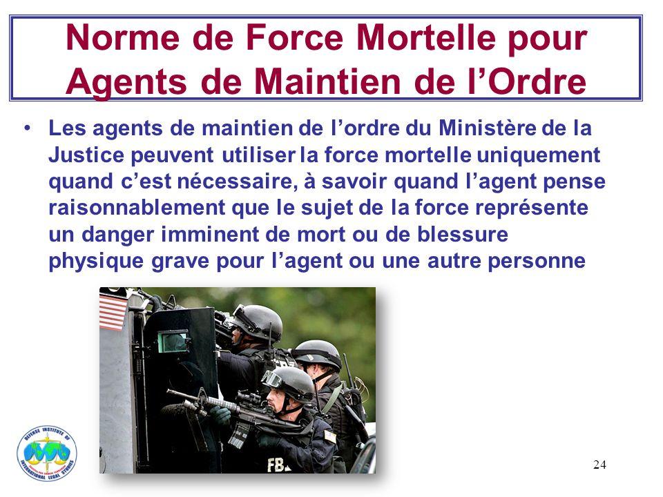 Norme de Force Mortelle pour Agents de Maintien de l'Ordre