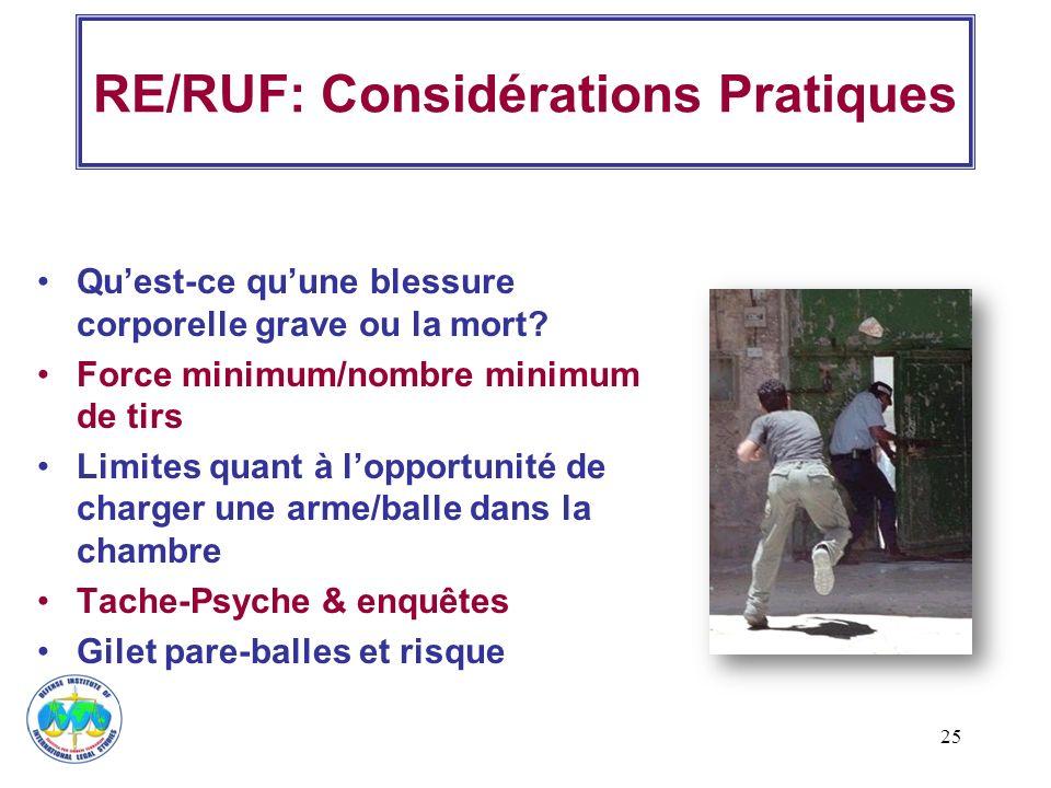 RE/RUF: Considérations Pratiques