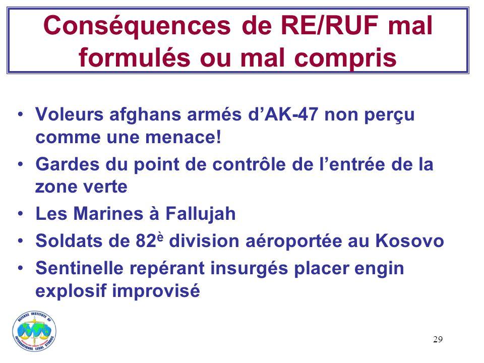 Conséquences de RE/RUF mal formulés ou mal compris