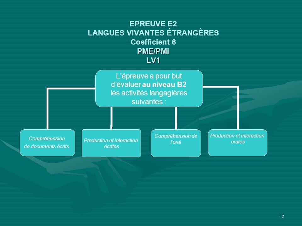 EPREUVE E2 LANGUES VIVANTES ÉTRANGÈRES Coefficient 6 PME/PMI LV1