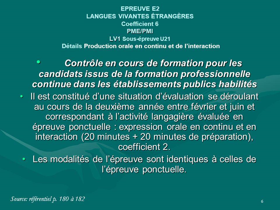 EPREUVE E2 LANGUES VIVANTES ÉTRANGÈRES Coefficient 6 PME/PMI LV1 Sous-épreuve U21 Détails Production orale en continu et de l'interaction