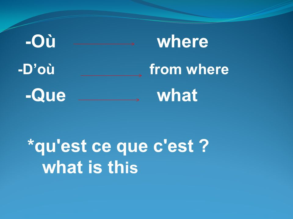 -Où where -Que what *qu est ce que c est what is this