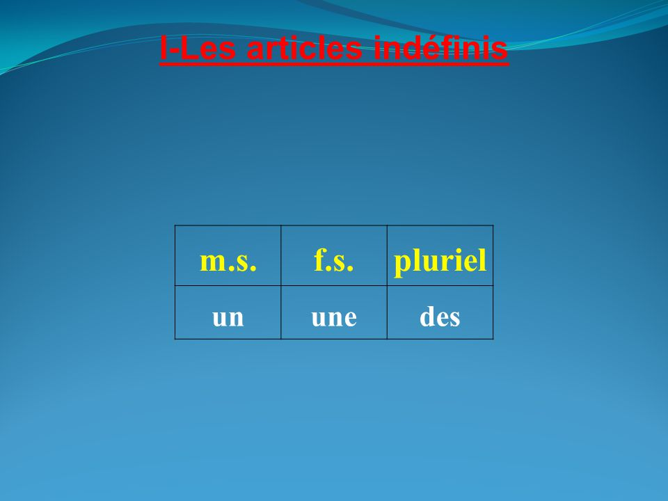I-Les articles indéfinis