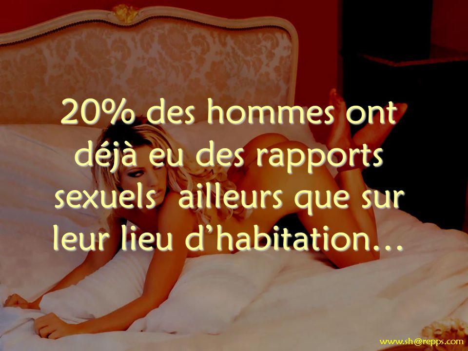 20% des hommes ont déjà eu des rapports sexuels ailleurs que sur leur lieu d'habitation…