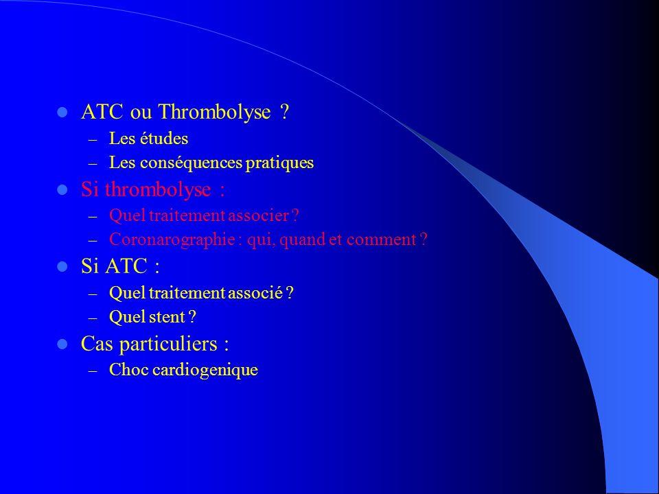 ATC ou Thrombolyse Si thrombolyse : Si ATC : Cas particuliers :