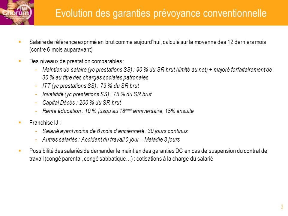 Evolution des garanties prévoyance conventionnelle