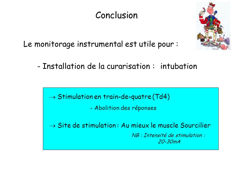 NB : Intensité de stimulation :