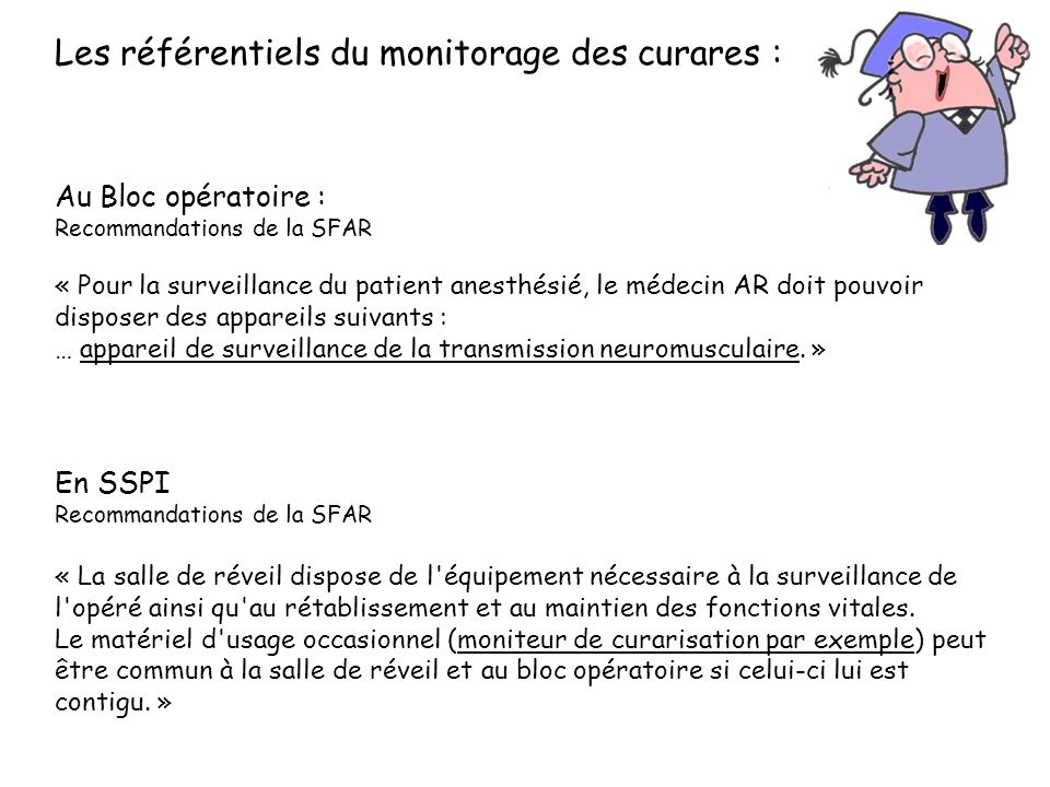 Les référentiels du monitorage des curares :