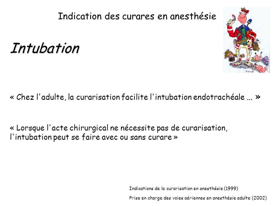 Intubation Indication des curares en anesthésie