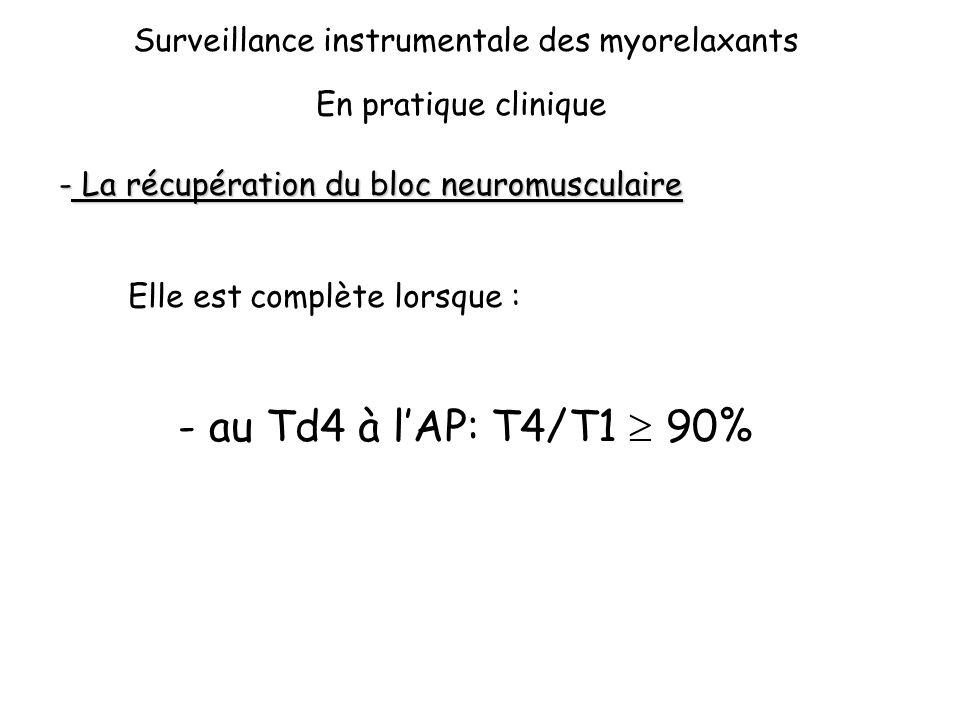 au Td4 à l'AP: T4/T1  90% Surveillance instrumentale des myorelaxants
