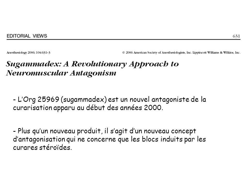 - L'Org 25969 (sugammadex) est un nouvel antagoniste de la curarisation apparu au début des années 2000.