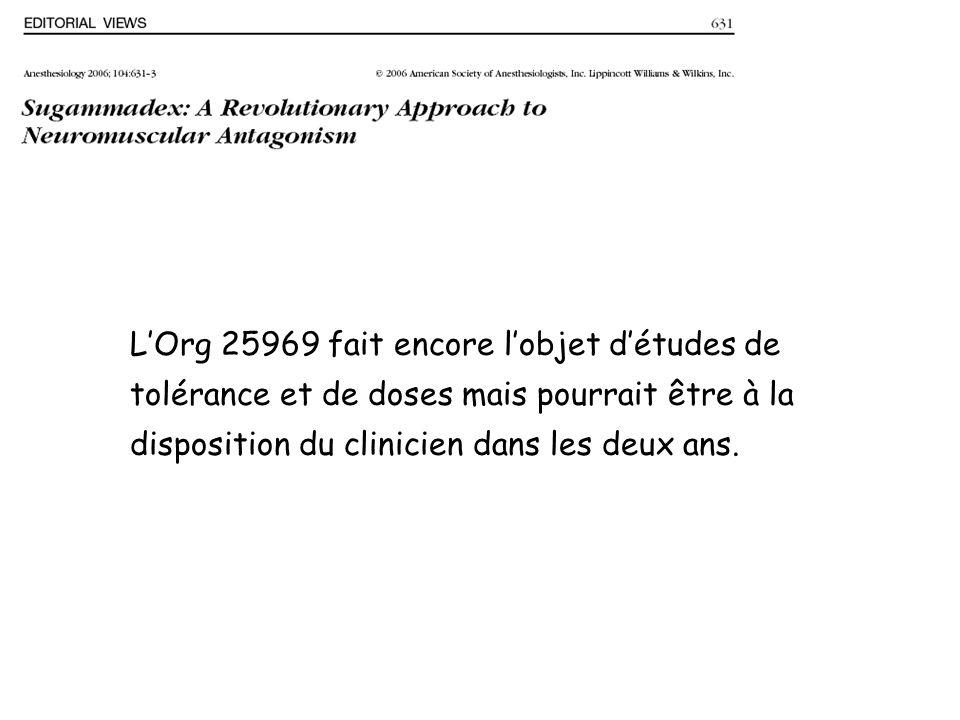 L'Org 25969 fait encore l'objet d'études de tolérance et de doses mais pourrait être à la disposition du clinicien dans les deux ans.