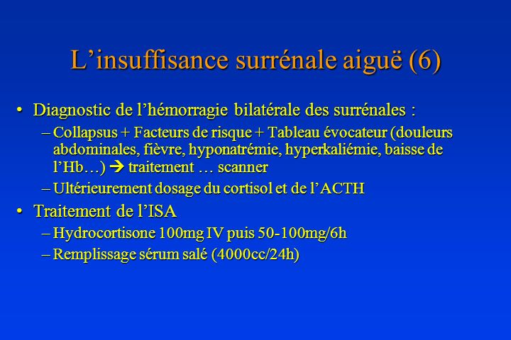 L'insuffisance surrénale aiguë (6)