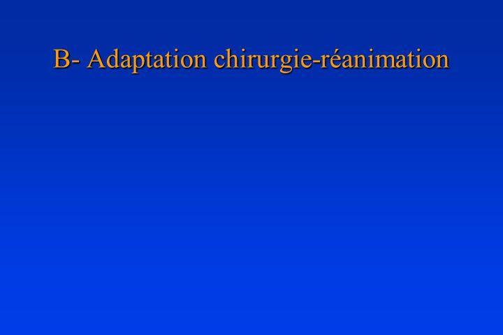 B- Adaptation chirurgie-réanimation