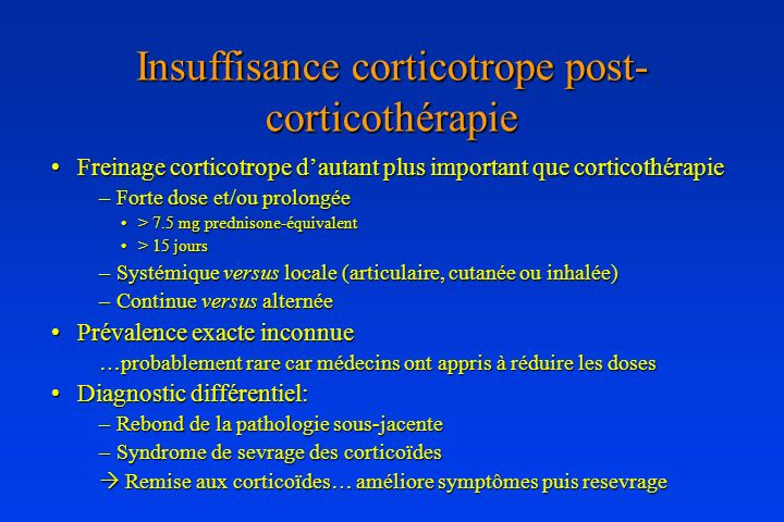 Insuffisance corticotrope post-corticothérapie