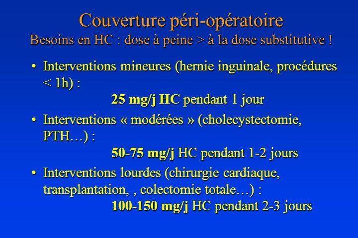 Couverture péri-opératoire Besoins en HC : dose à peine > à la dose substitutive !