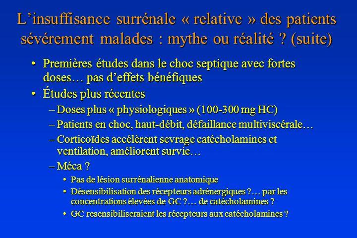 L'insuffisance surrénale « relative » des patients sévérement malades : mythe ou réalité (suite)