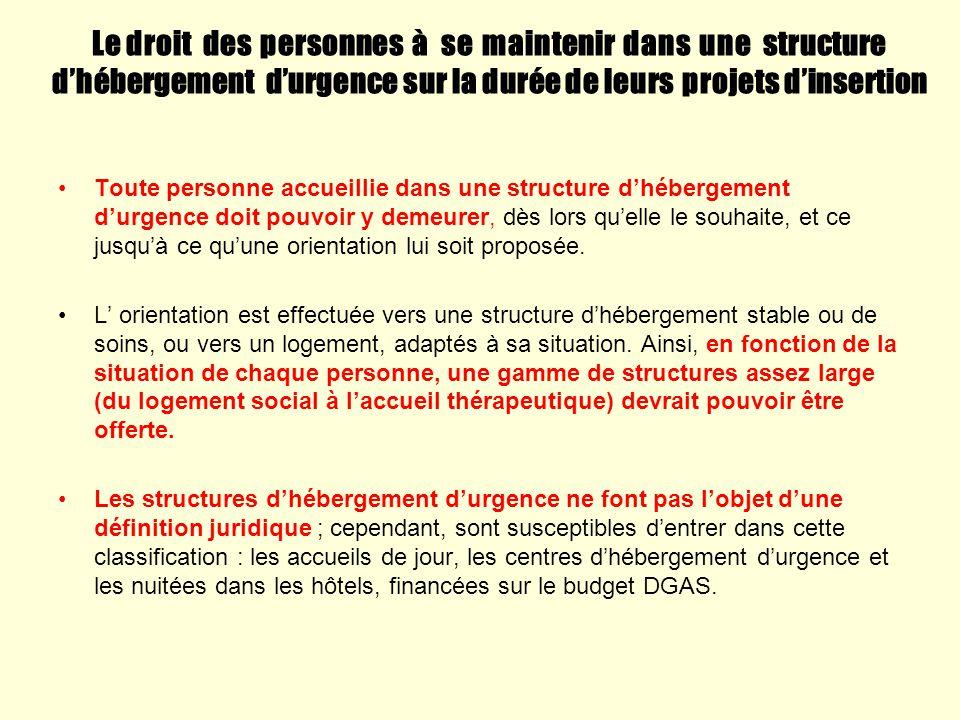 Le droit des personnes à se maintenir dans une structure d'hébergement d'urgence sur la durée de leurs projets d'insertion