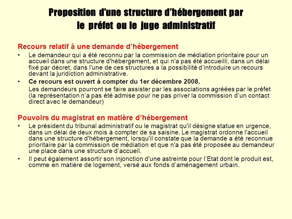 Proposition d'une structure d'hébergement par le préfet ou le juge administratif