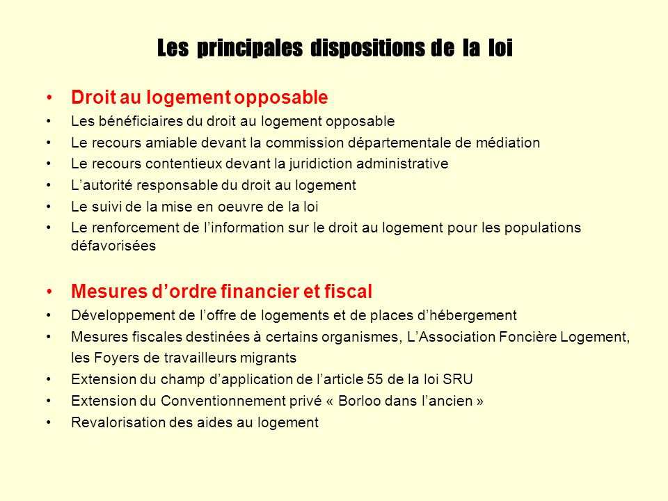 Les principales dispositions de la loi
