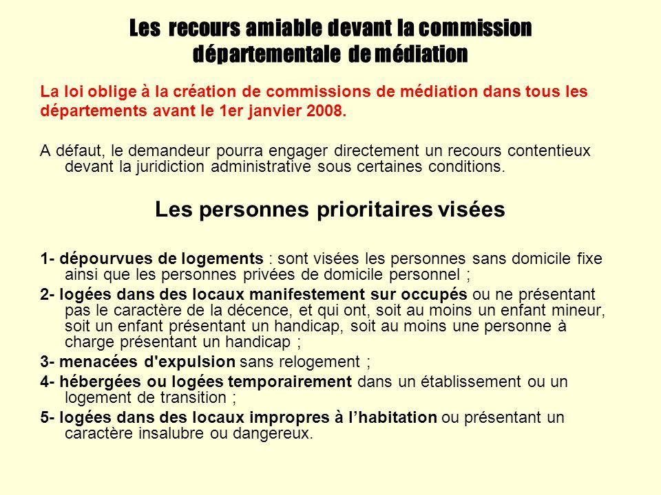 Les recours amiable devant la commission départementale de médiation