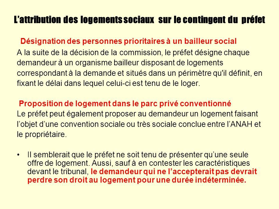 L'attribution des logements sociaux sur le contingent du préfet