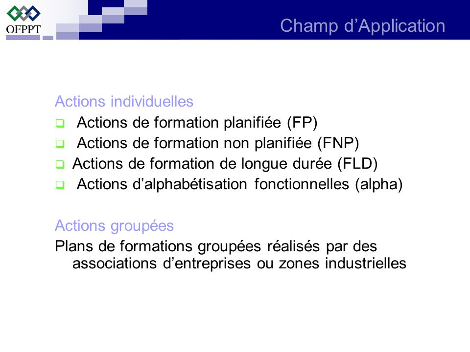 Champ d'Application Actions individuelles