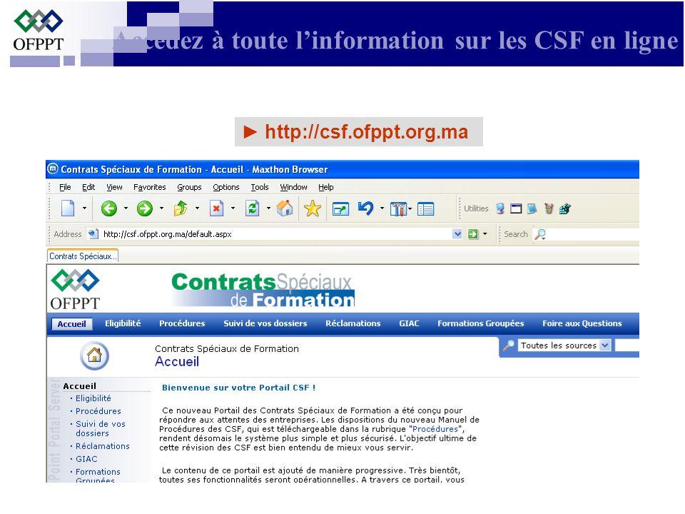 Accédez à toute l'information sur les CSF en ligne