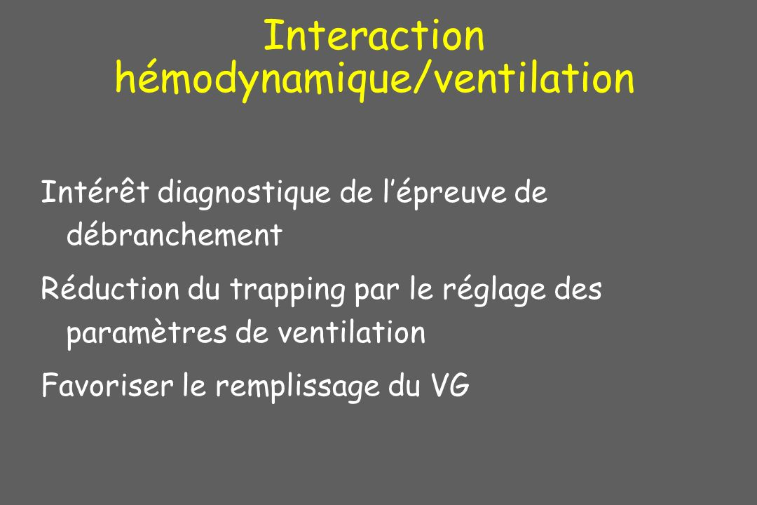 Interaction hémodynamique/ventilation